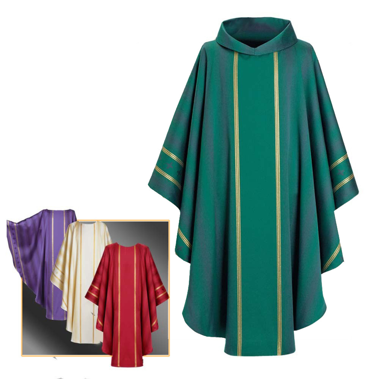 700163 Green Chasuble/Plain Collar with Zipper