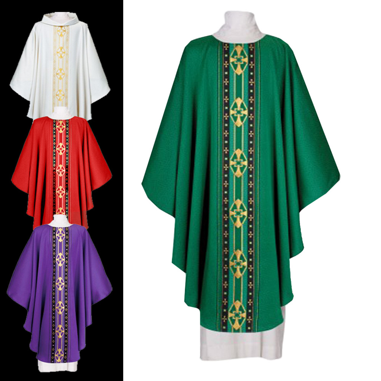 700231 Green Chasuble from Houssard Plain Collar with Zipper