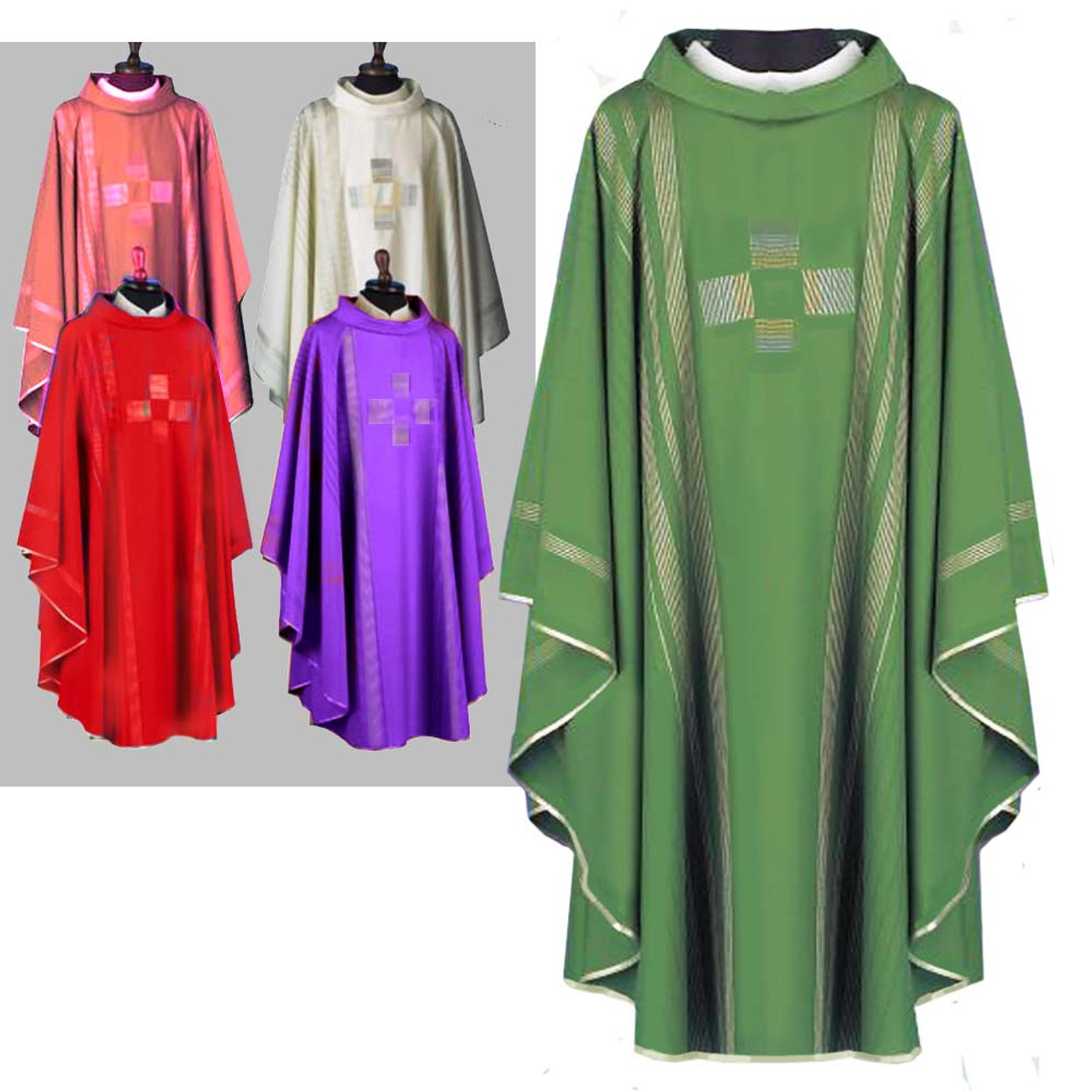 860 Green Chasuble in Linea from Solivari
