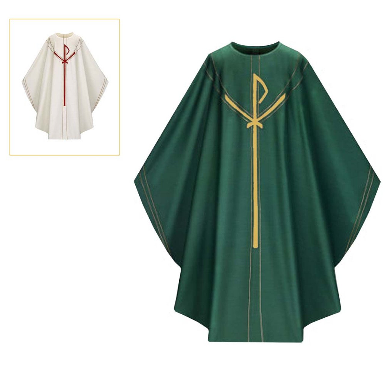5090 Dark Green Chasuble in Dupion