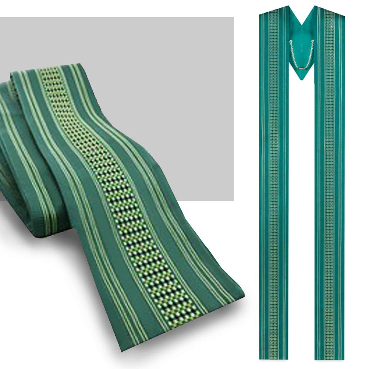 3110 Green Ornata Overlay Stole - 63 x 4.75 Inches