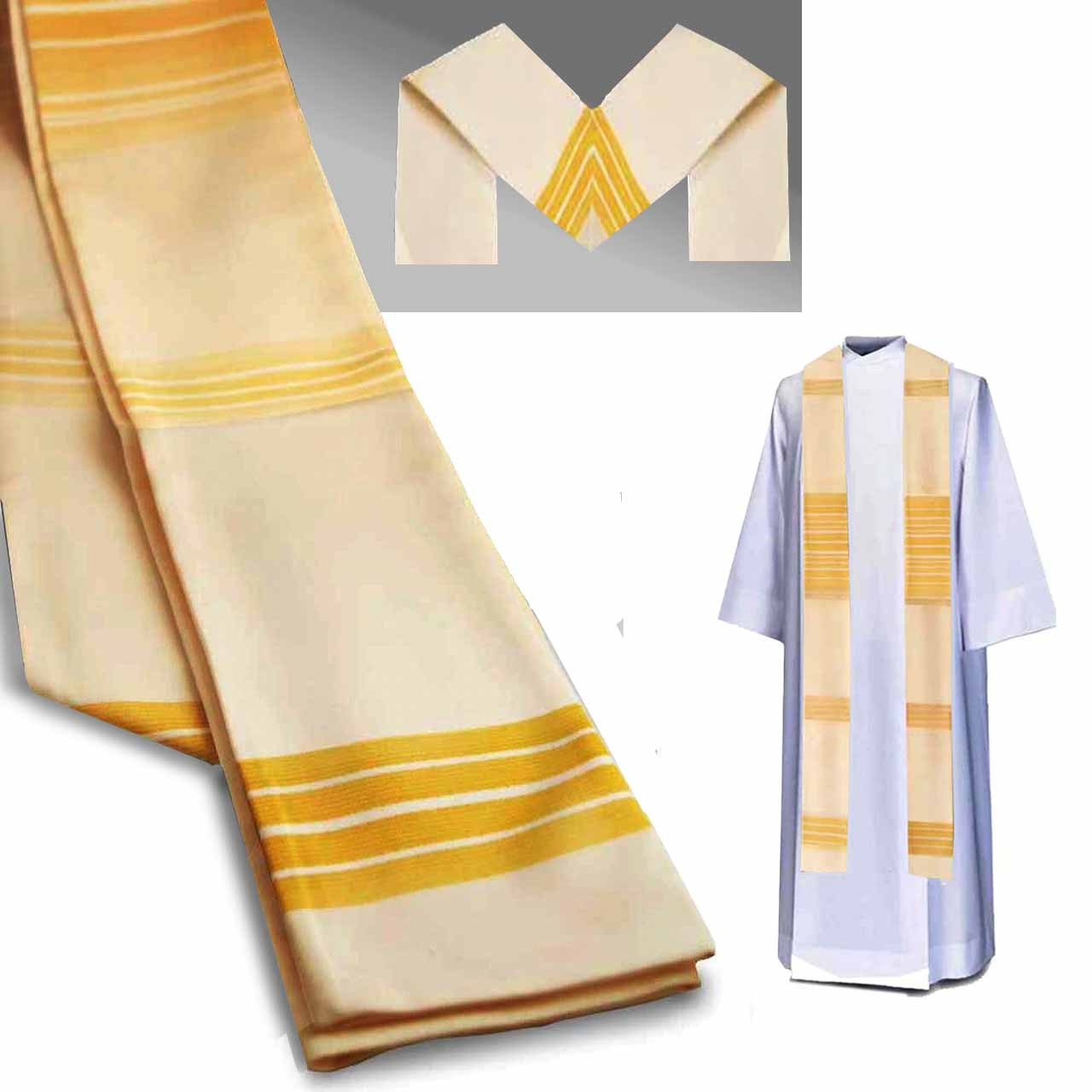 Inexpensive White Priest Stole