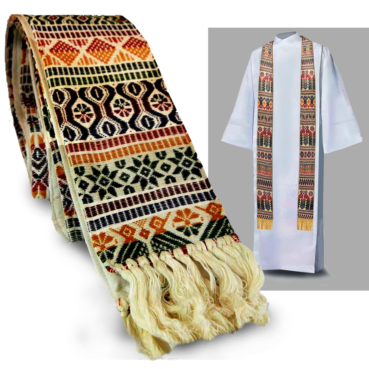 White Tapestry Stole