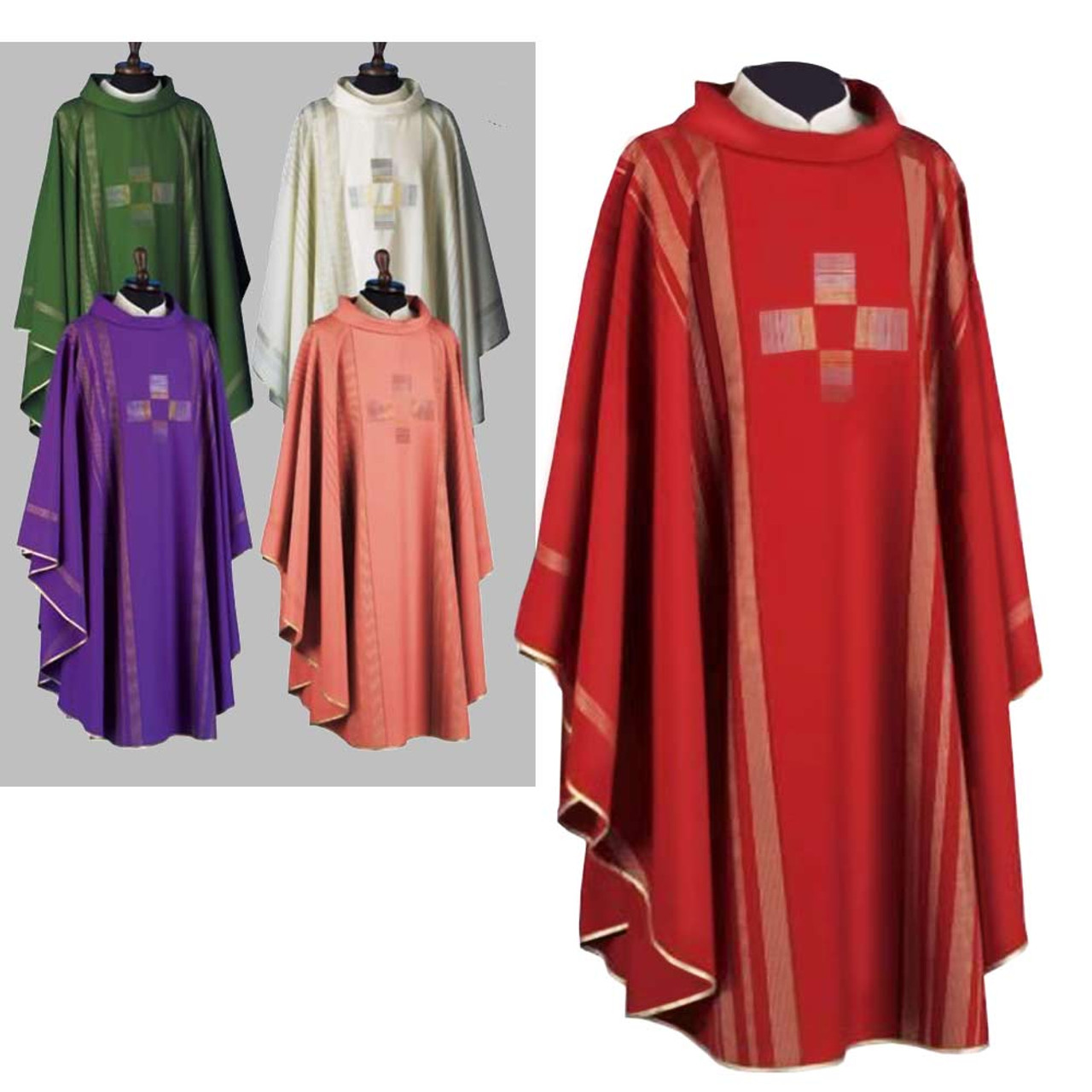 860 Red Chasuble in Linea from Solivari