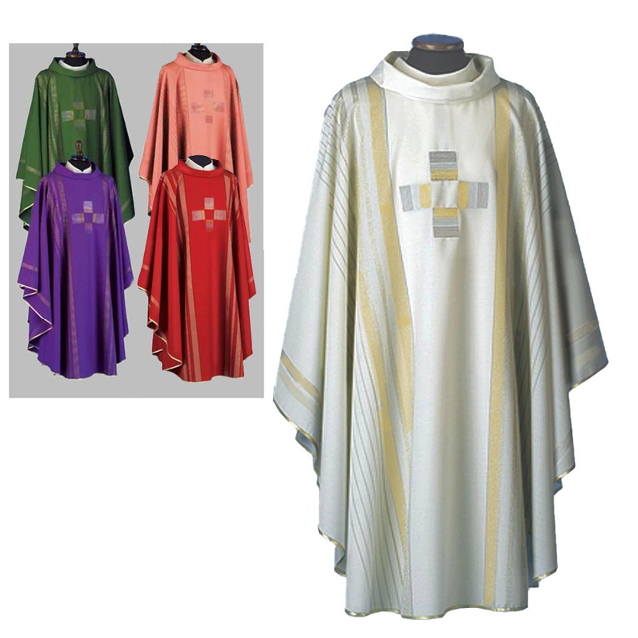 White Chasuble Linea Style with Gold Edging