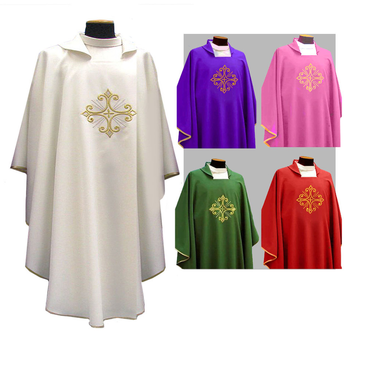 351 White Chasuble with Gold Cross from Solivari