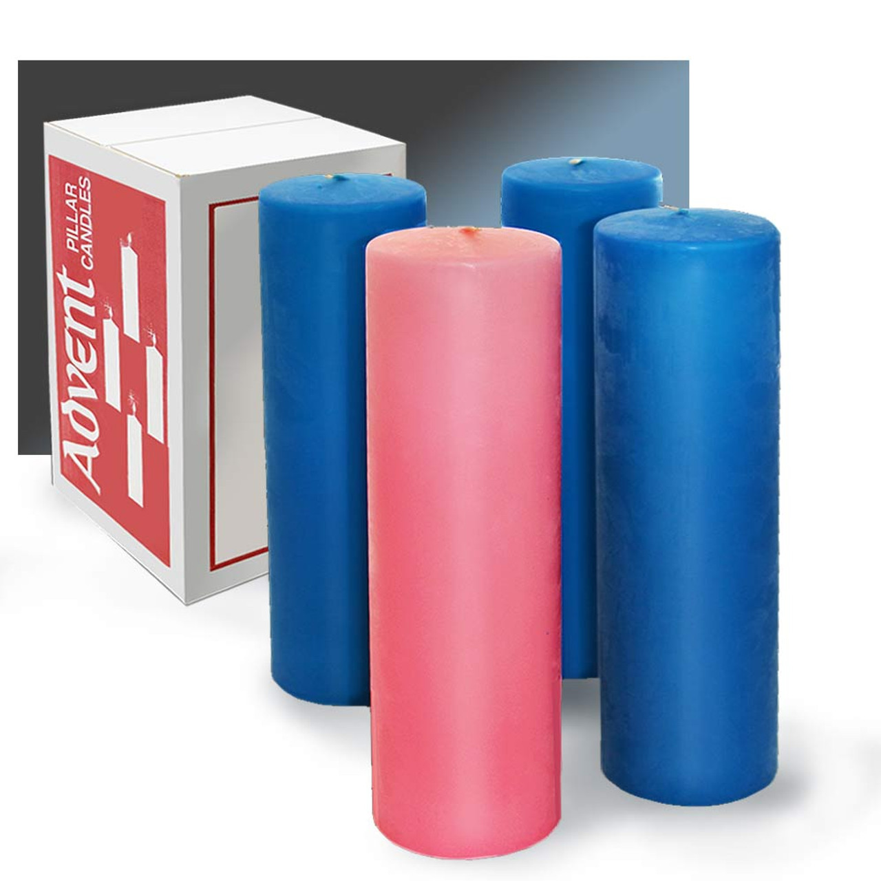 """3""""x12"""" Blue/Pink Stearine Advent Candles: Set of 4"""