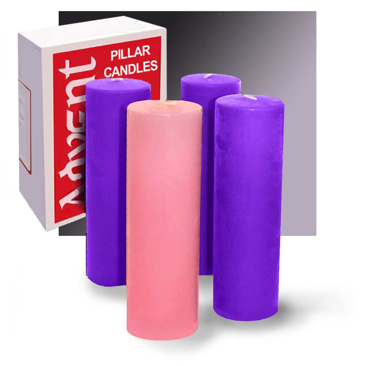"""3""""x12"""" Purple/Pink Stearine Advent Candles: Set of 4"""
