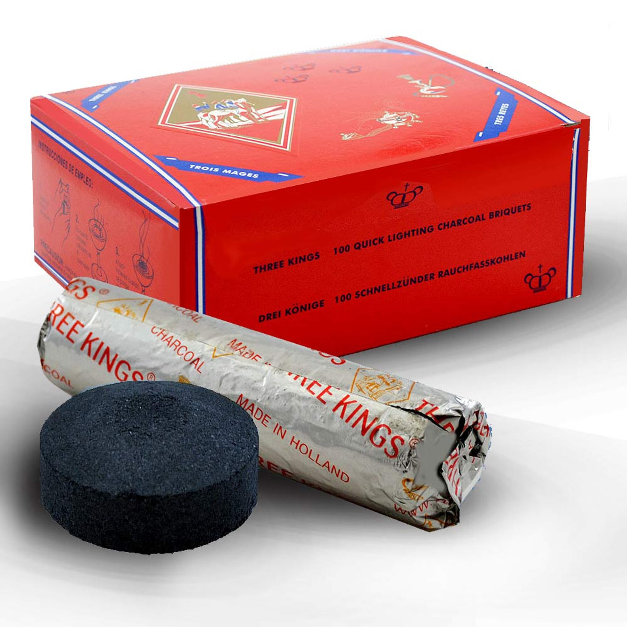 Three Kings Charcoal: Box of 100 with Smaller Briquettes