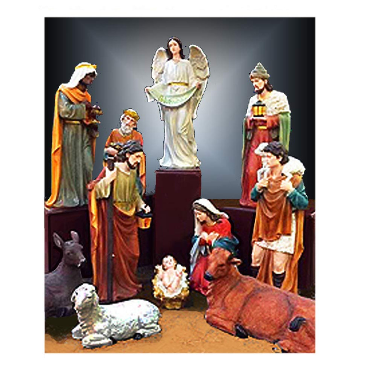 53384 12pc Fiberglass/Resin Nativity Set 32""