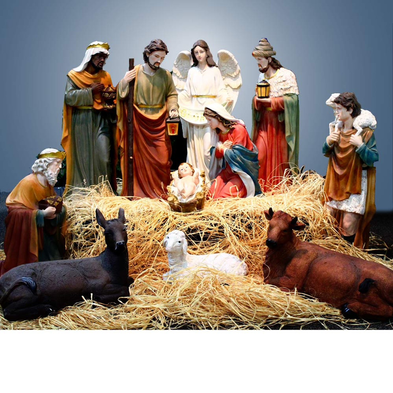53398 12pc Fiberglass/Resin Nativity Set 39""