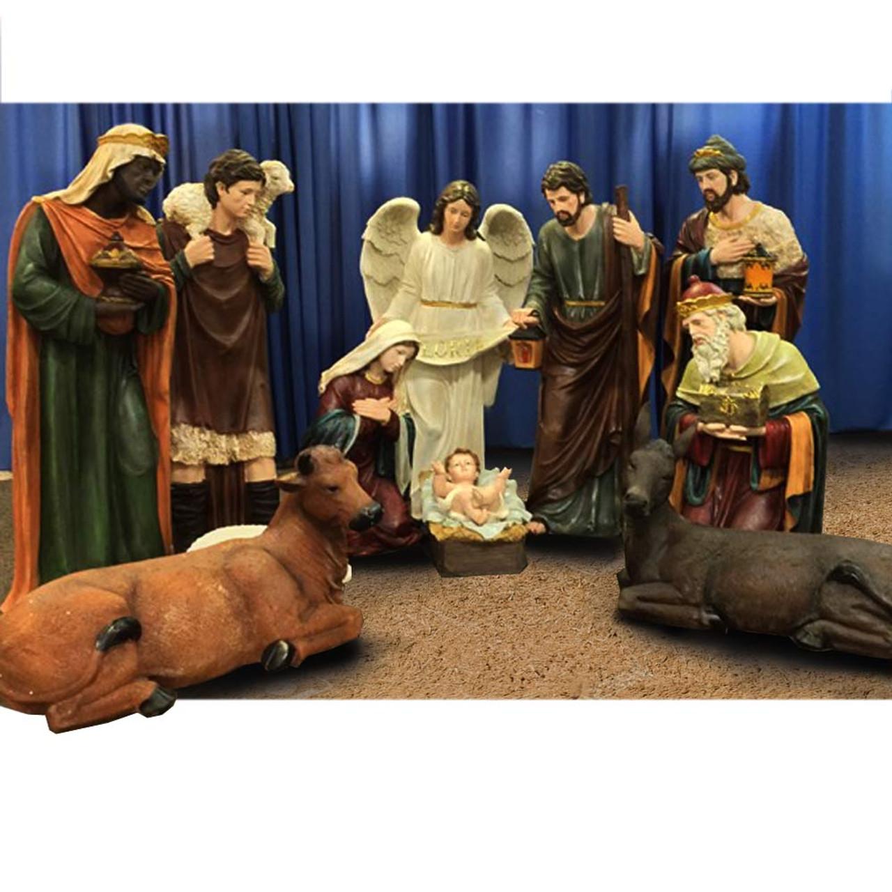 "53396 12pc Fiberglass/Resin Nativity Set 48"""