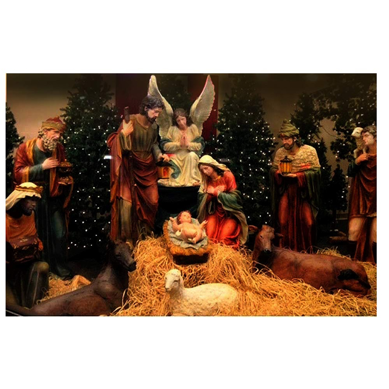 53385 12pc Fiberglass/Resin Nativity Set 59""