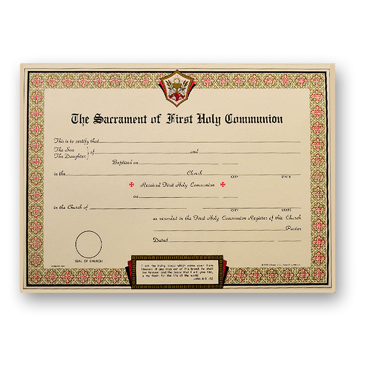 Pad of 50 First Holy Communion Certificates