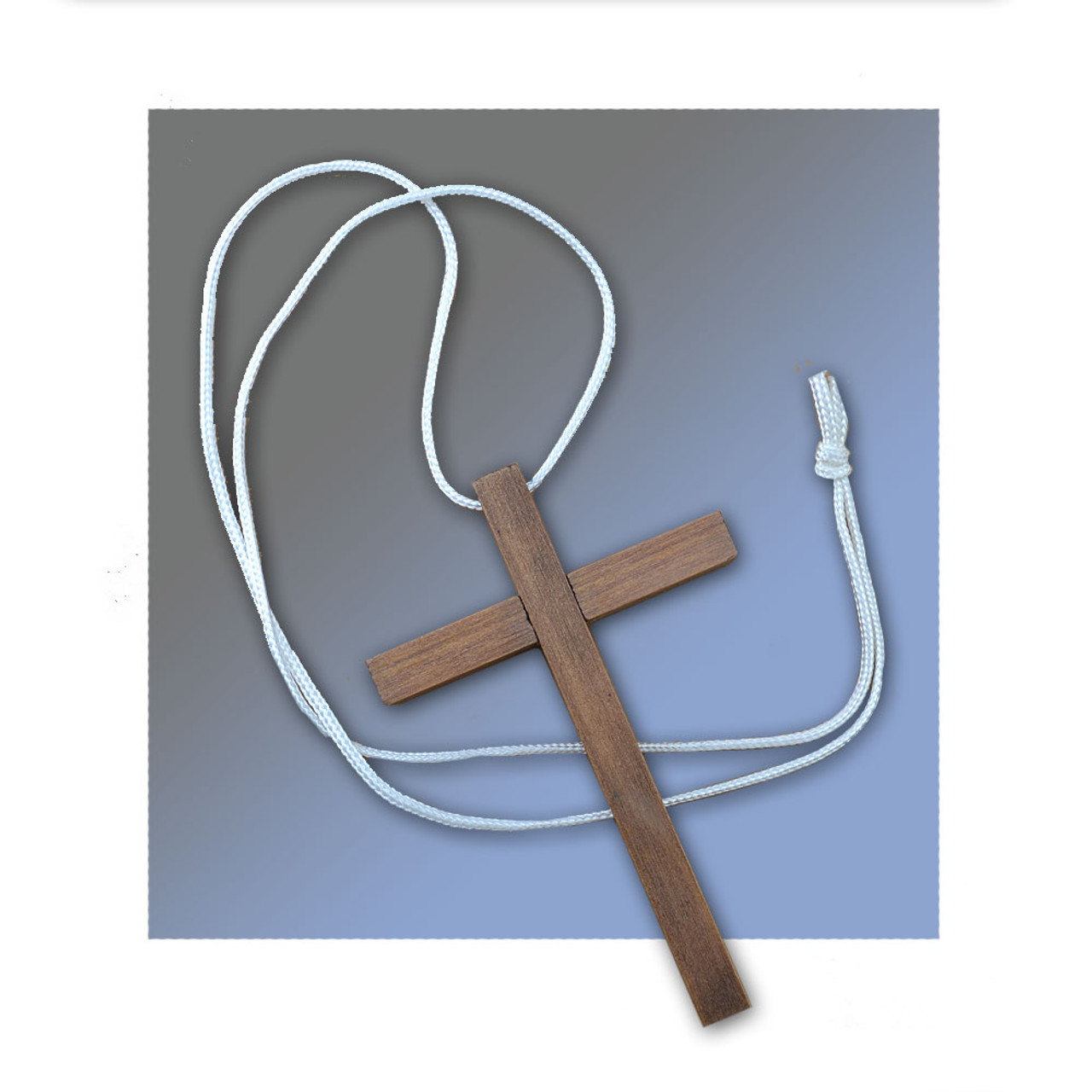 3x 4-5/8IN Liturgical Wood Cross Necklace w/Cord