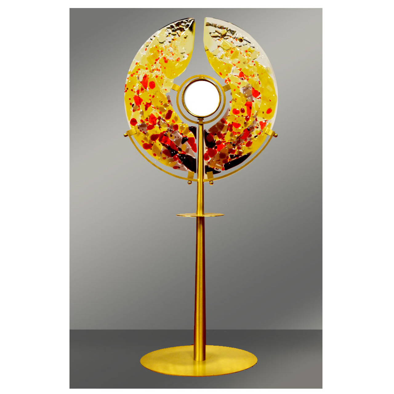 """Contemporary 27"""" Monstrance with Stained Glass"""