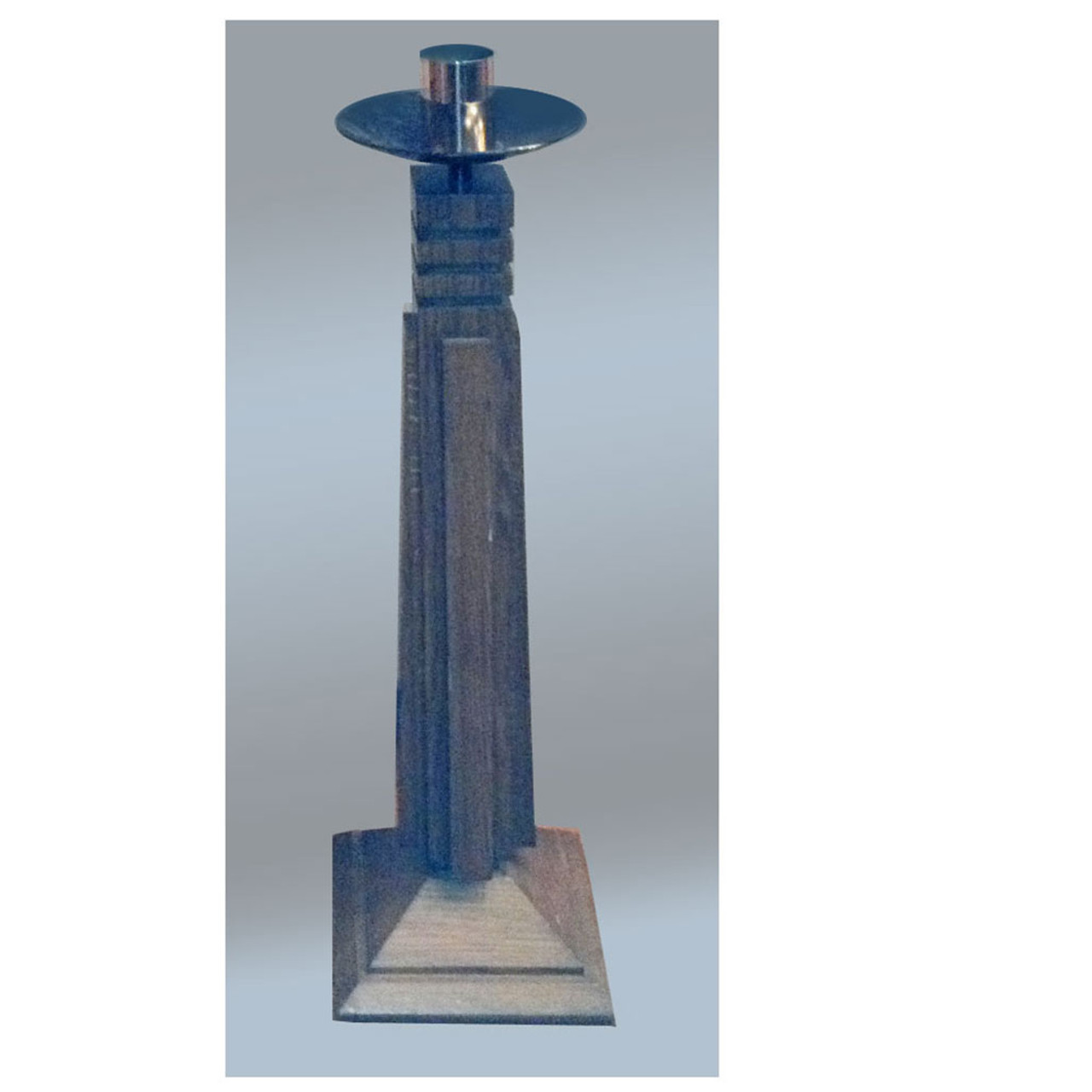"""SFSJ 30"""" Wood Paschal Stand Used With Brass Bobeche and Socket"""