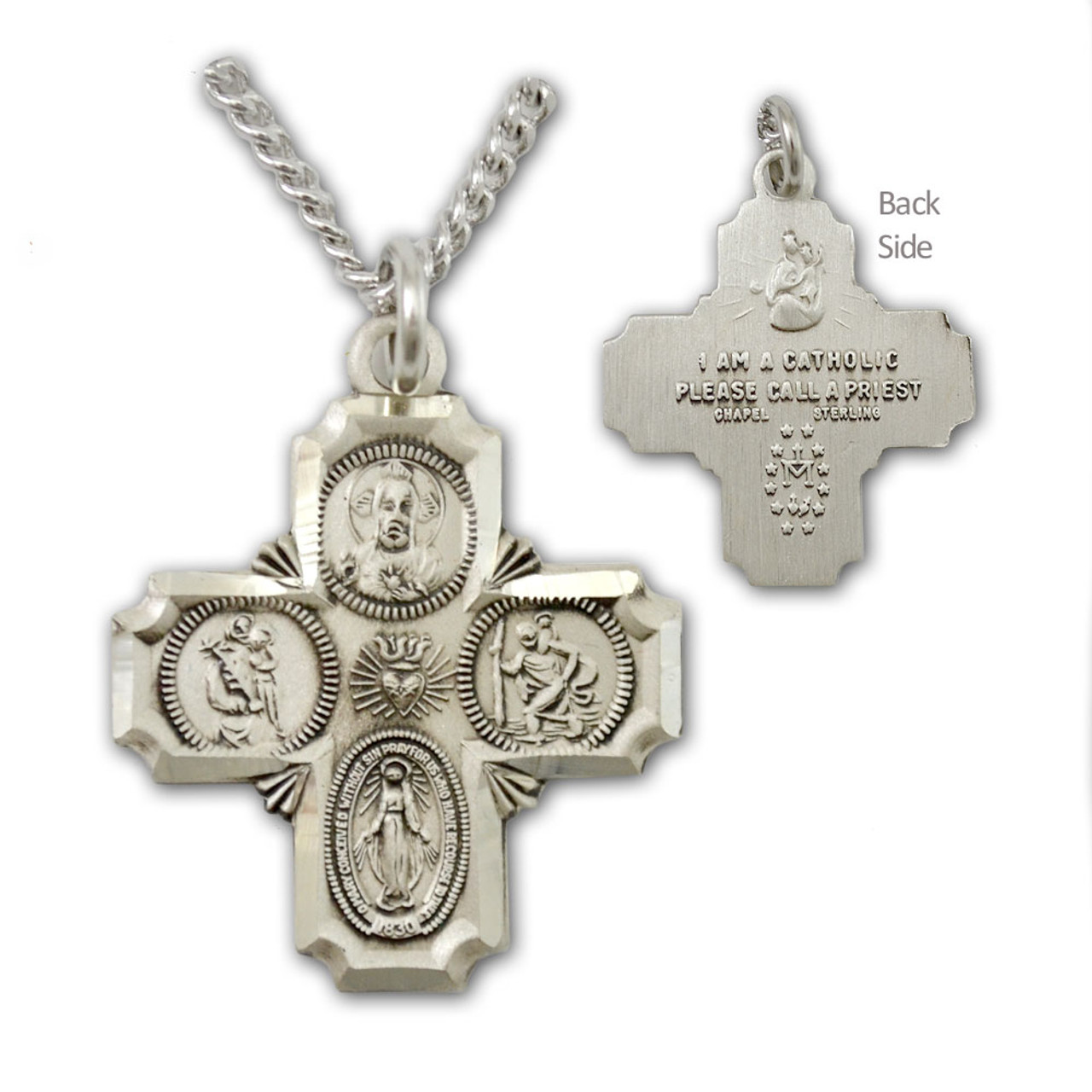 """SS Men's 4 Way Medal Necklace on 20"""" Chain"""
