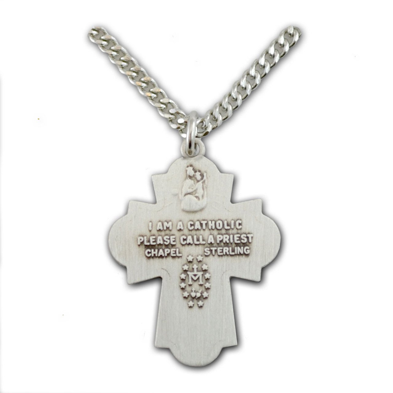 """Sterling Silver 4 Way Medal Necklace, 24"""" Chain"""