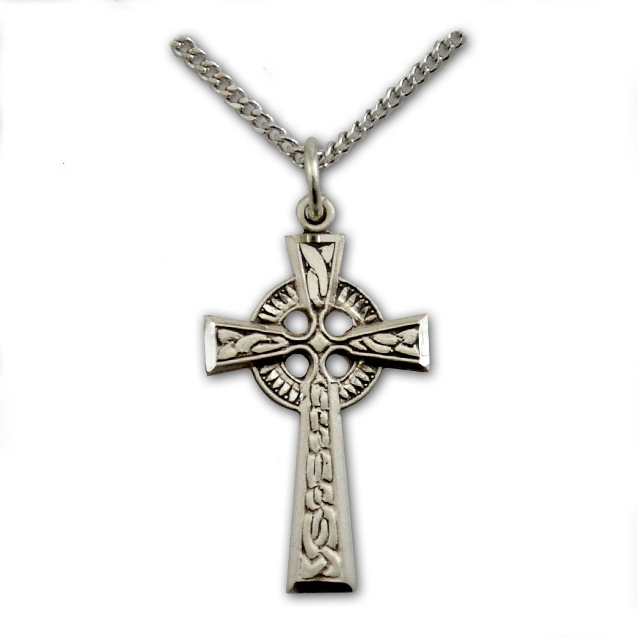Silver Celtic Cross Necklace, 18 Inch Chain
