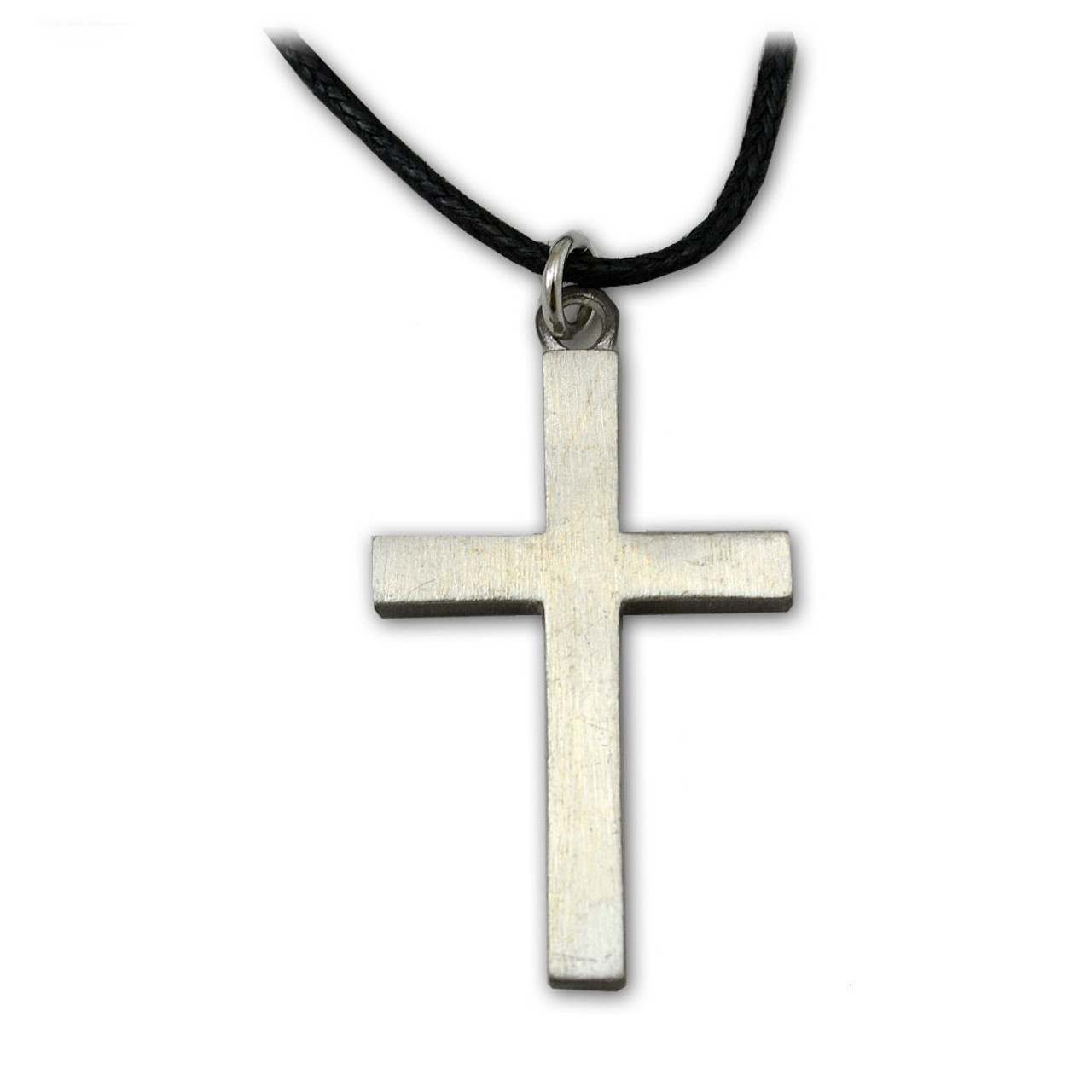 Pewter Cross With 24IN Leather Cord