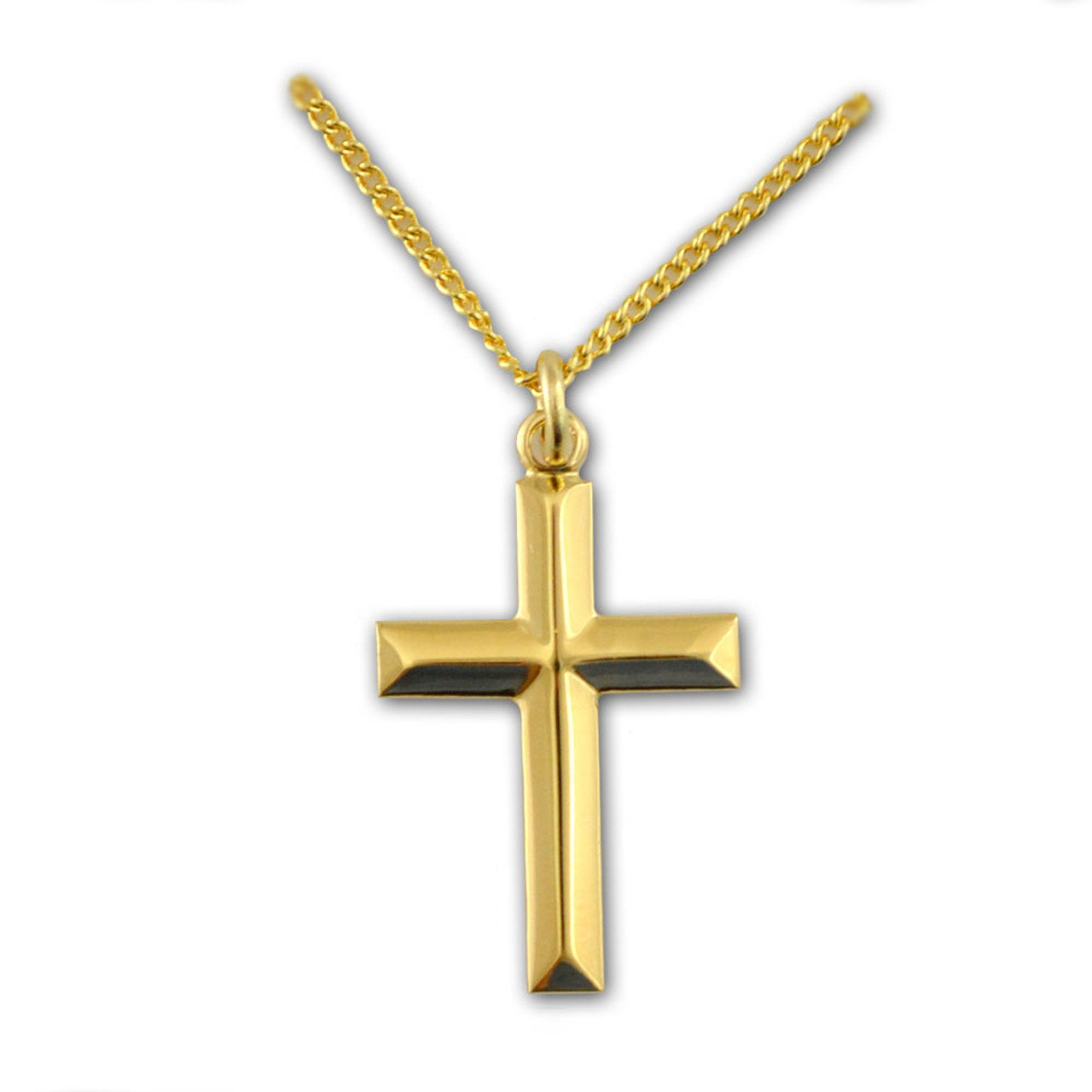 "Beveled Cross Necklace 18 kt Gold on 18"" Chain"
