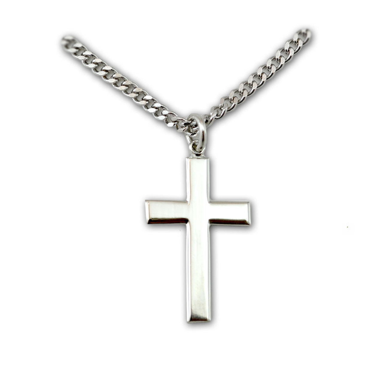 """24"""" Silver Cross Necklace"""