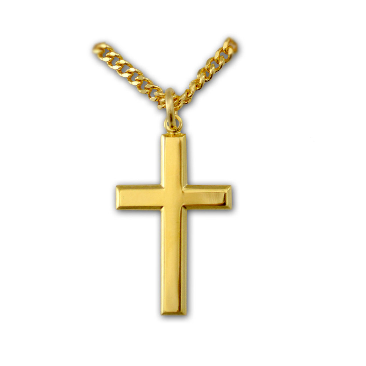 "Plain Cross Pendant Gold Filled on 24"" Chain"