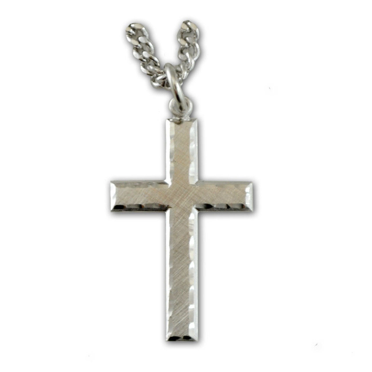 """Sterling Silver Men's Cross with 24"""" Chain"""