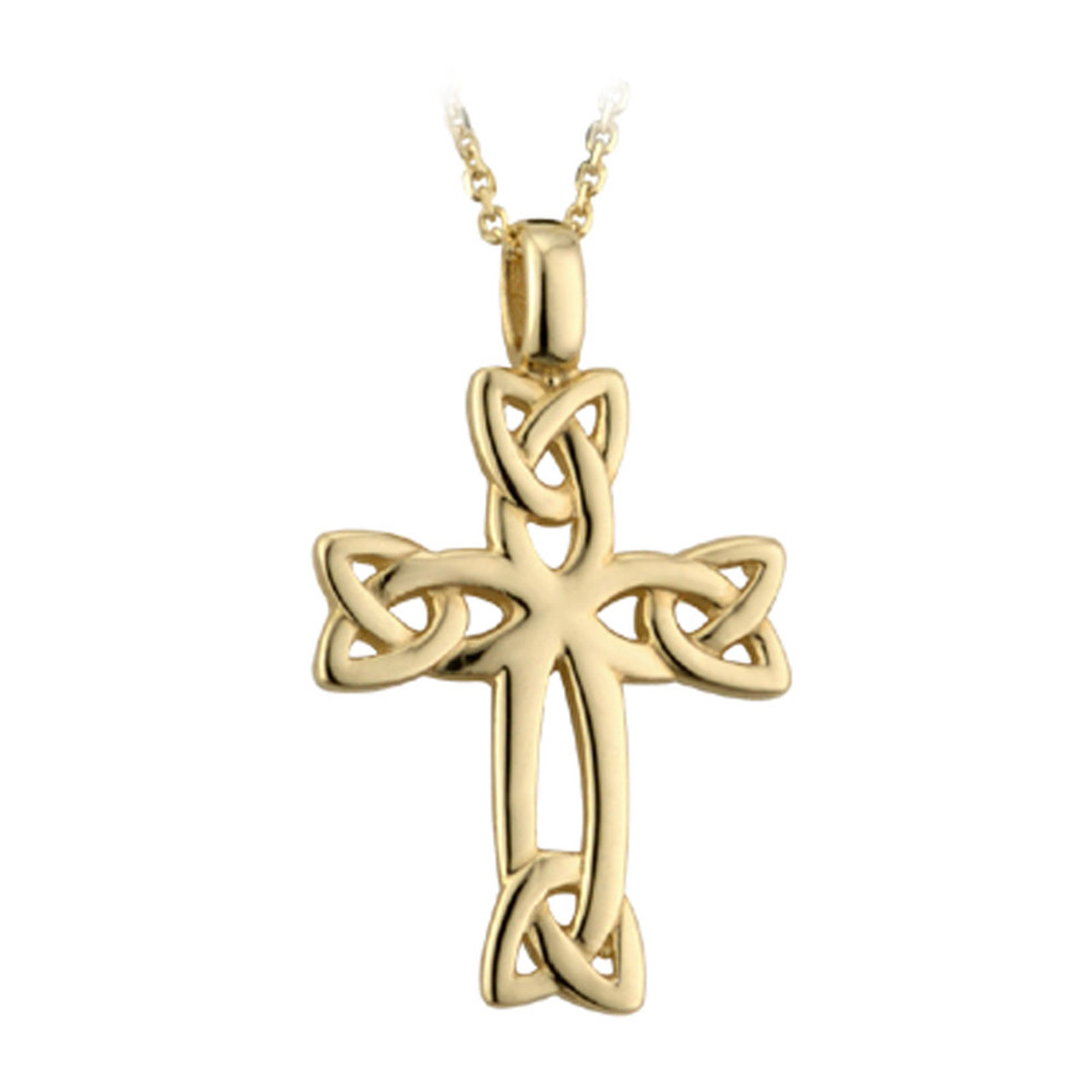 """Celtic Knot Cross Pendant Gold Plated w/18"""" Chain"""