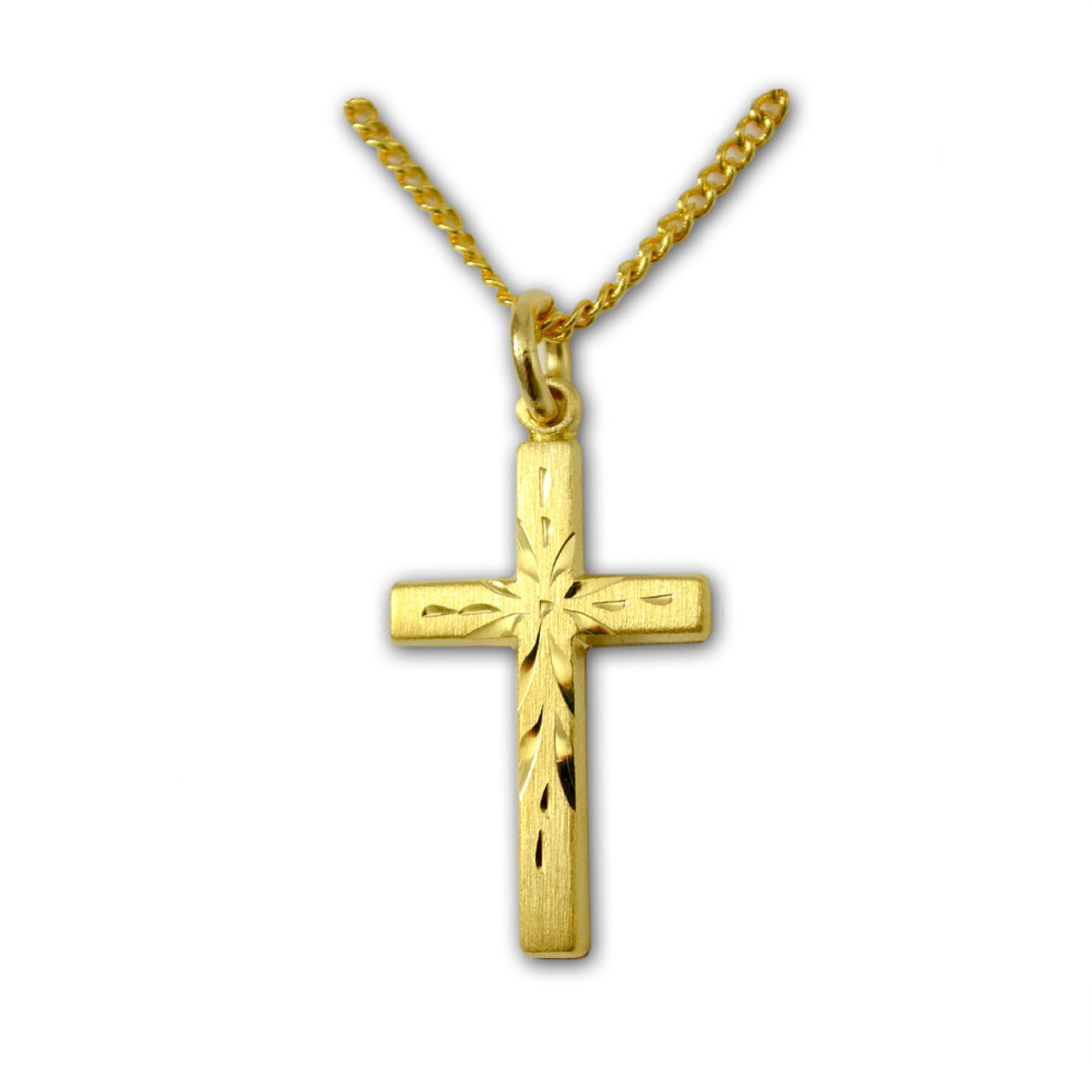 """Engraved Cross Gold Plated on 18"""" Chain"""