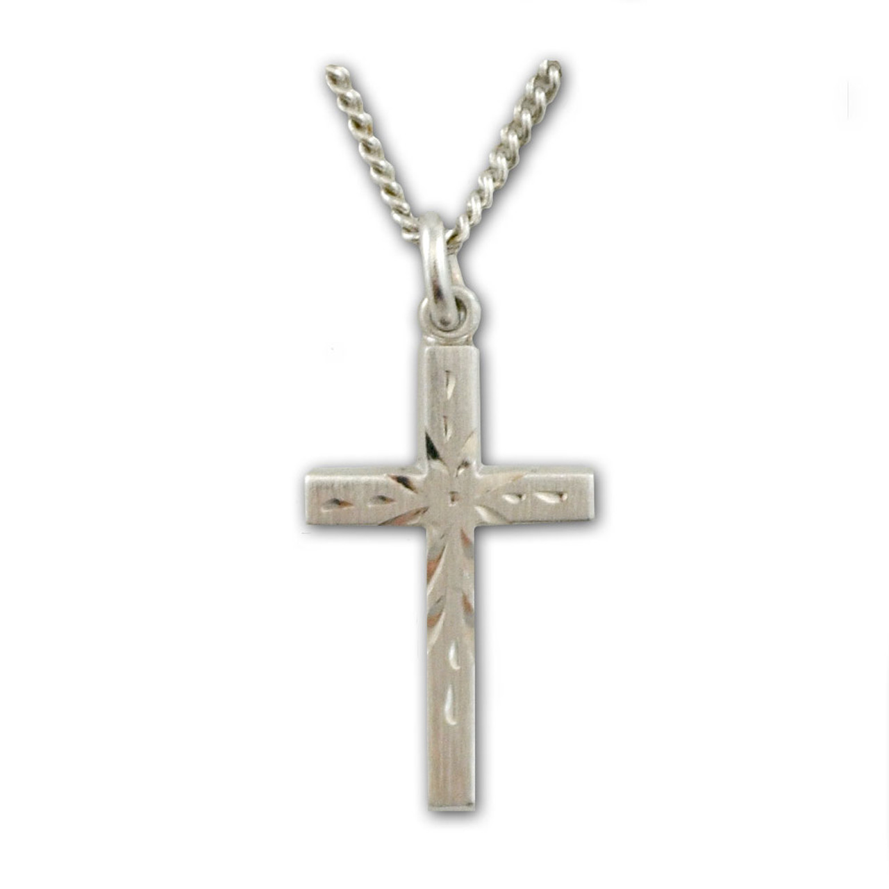 Etched Silver Cross Necklace w/18 IN Chain