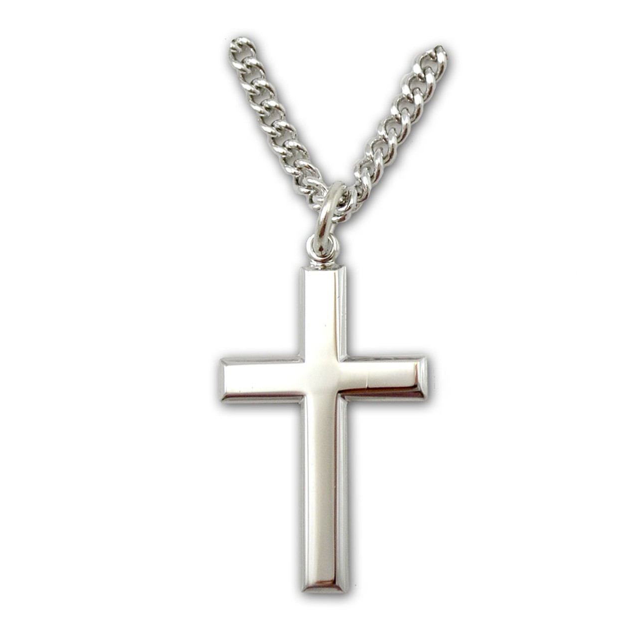 """Cross Necklace Sterling Silver on 24"""" Chain"""