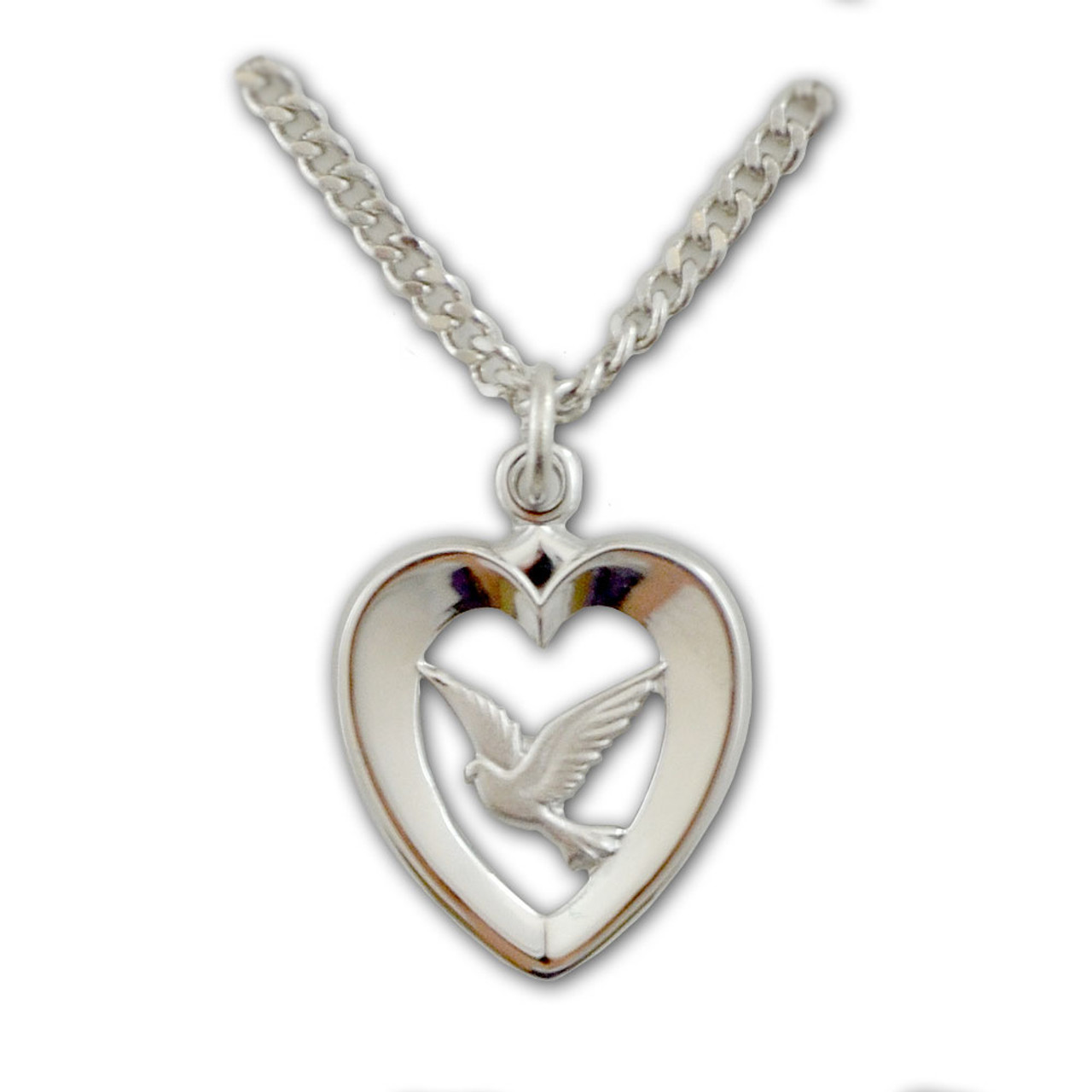Heart With Dove Pendant Sterling 18IN Chain