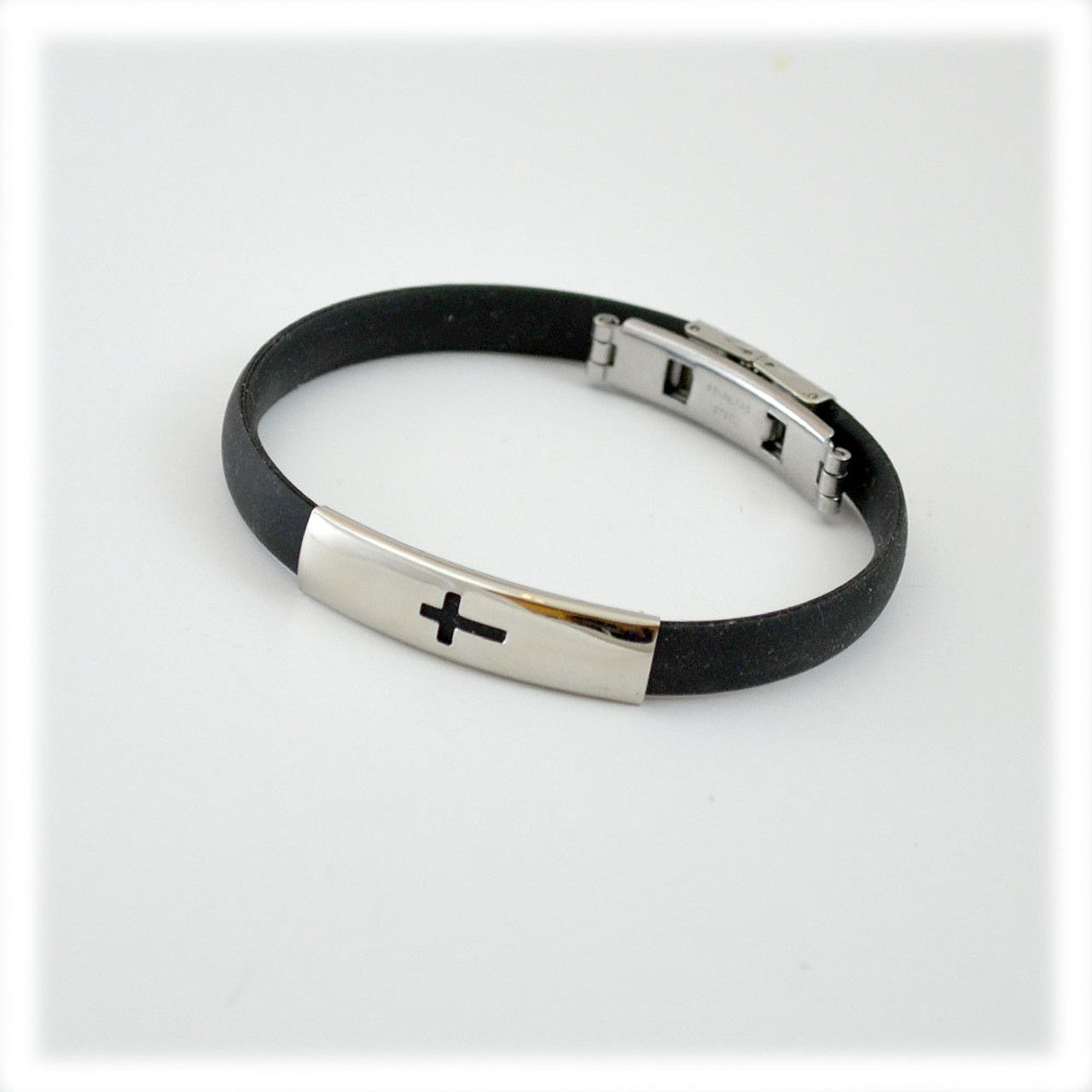 Black Rubber Bracelet With Silver Cross