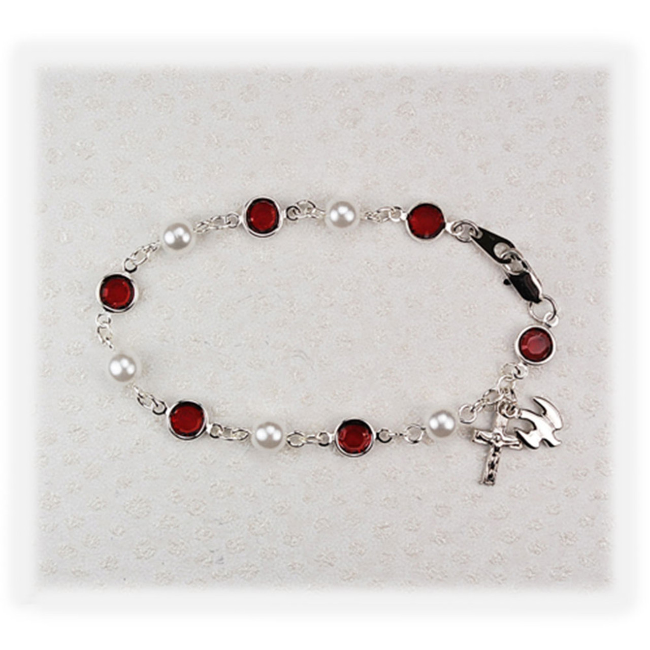 Ruby Pearl Confirmation Bracelet With Dove Crucifix