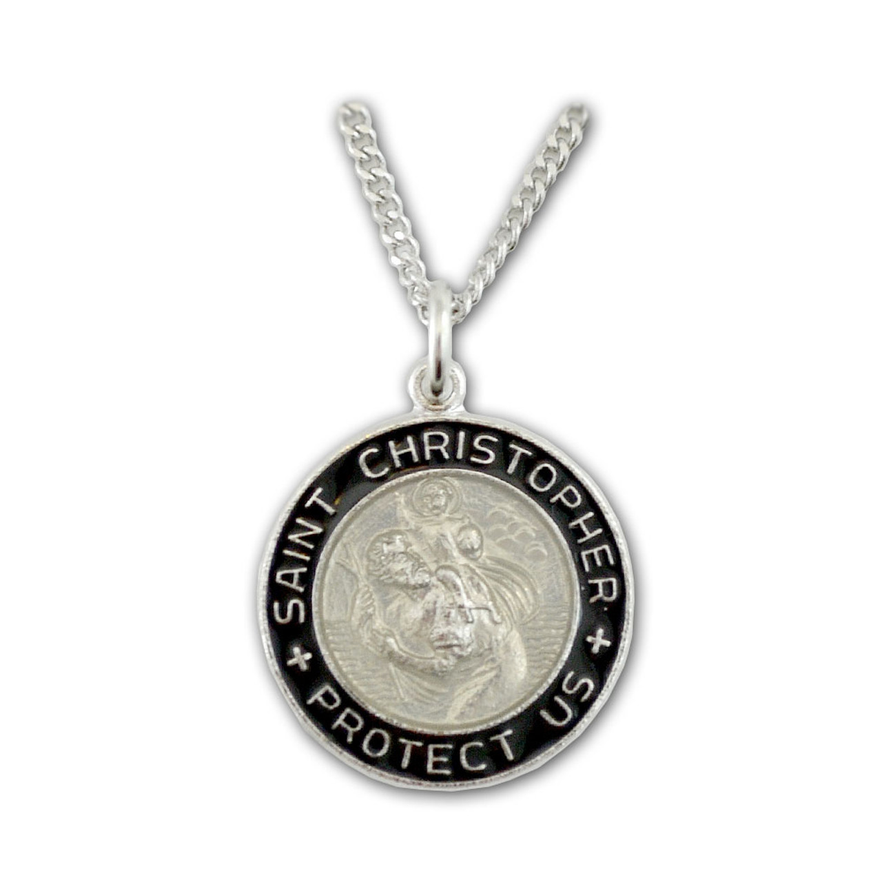 """Surfer Style St. Christopher Medal on 18"""" Chain"""
