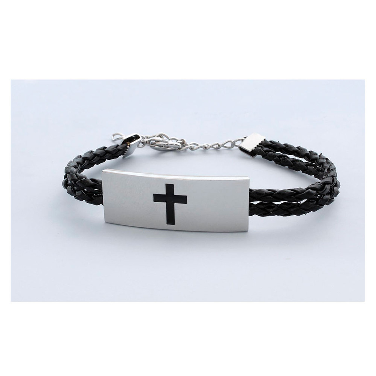 Woven Leather Bracelet with Cross