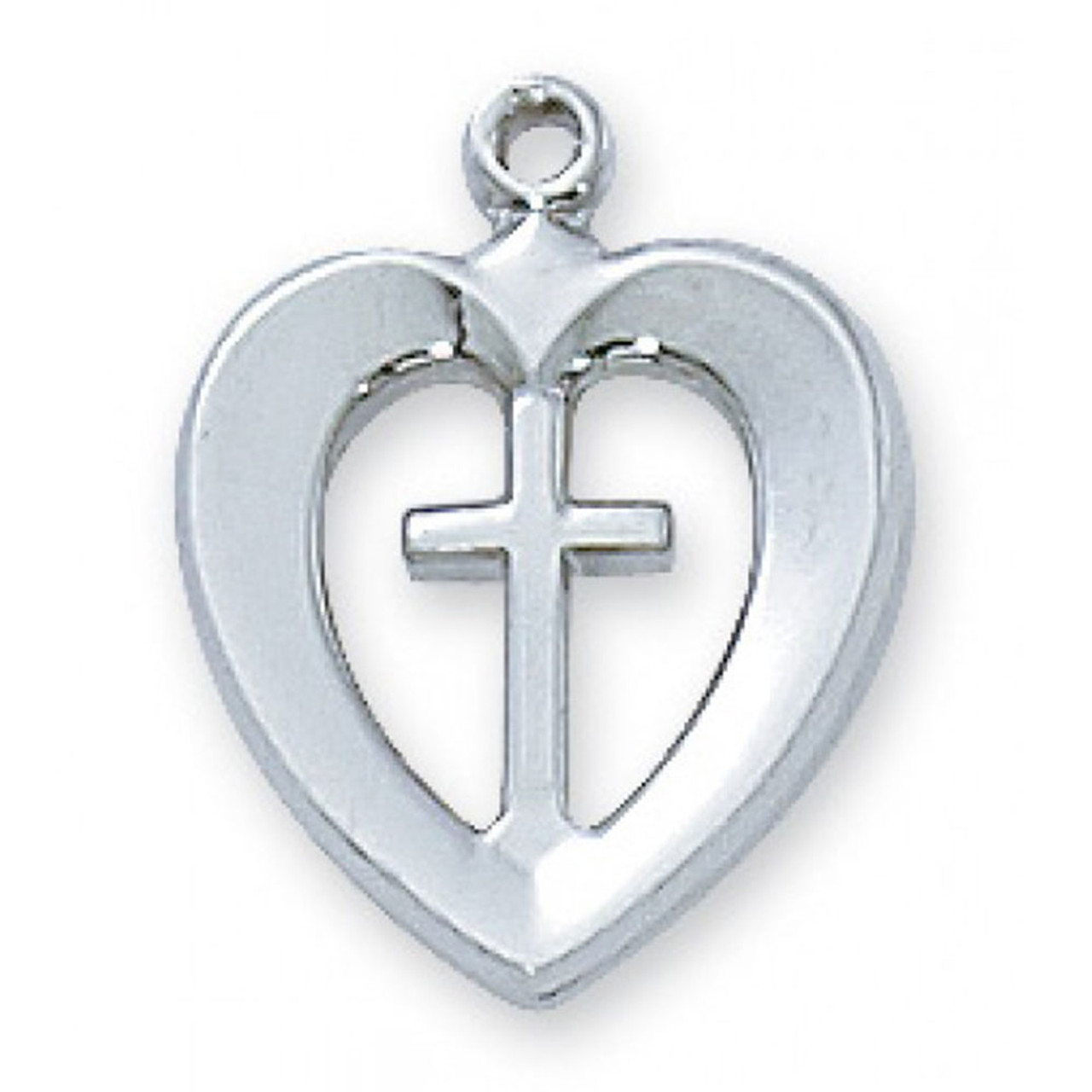 Heart Pendant with Cross Sterling 18IN Chain