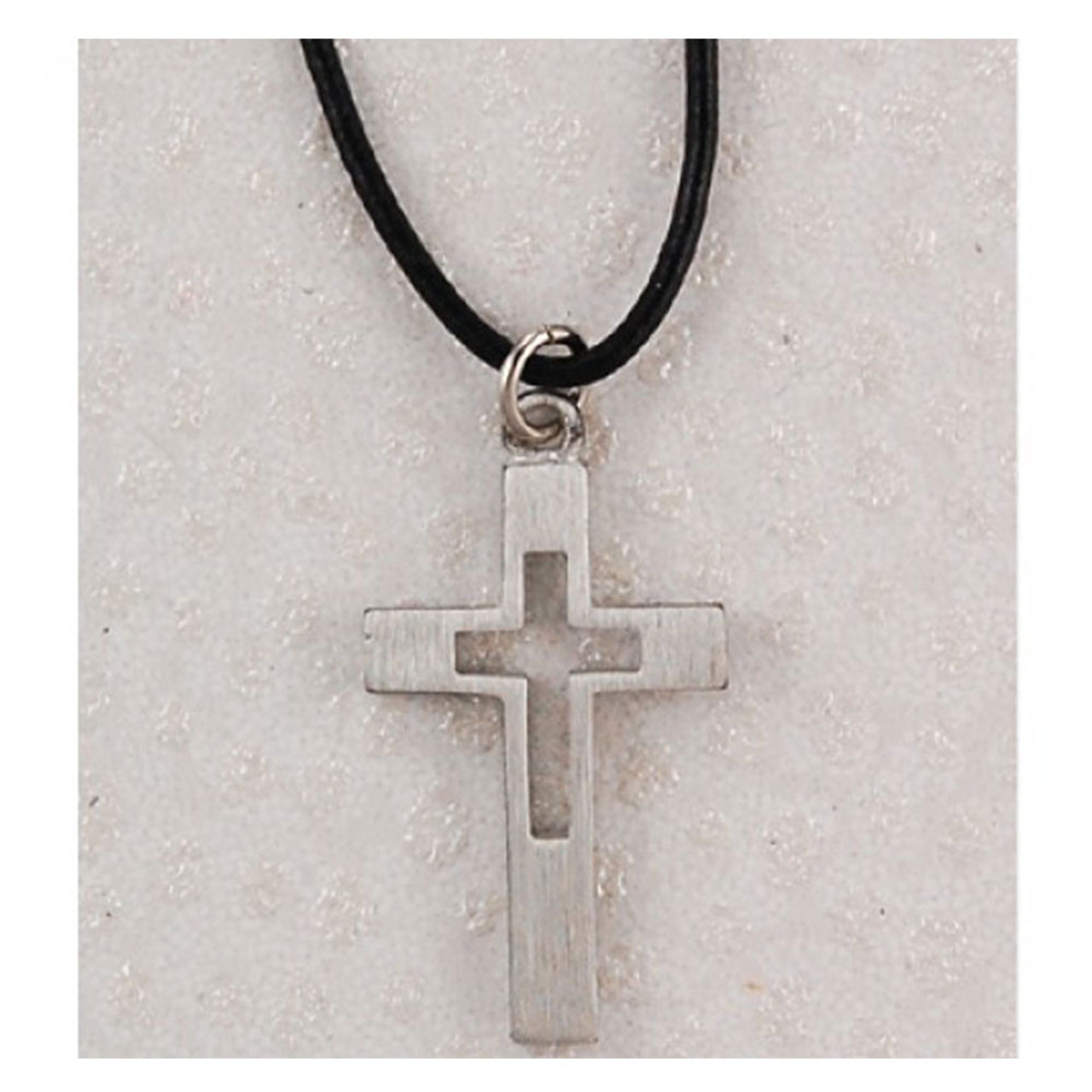 Pewter Cross With 18 IN Leather Cord Carded