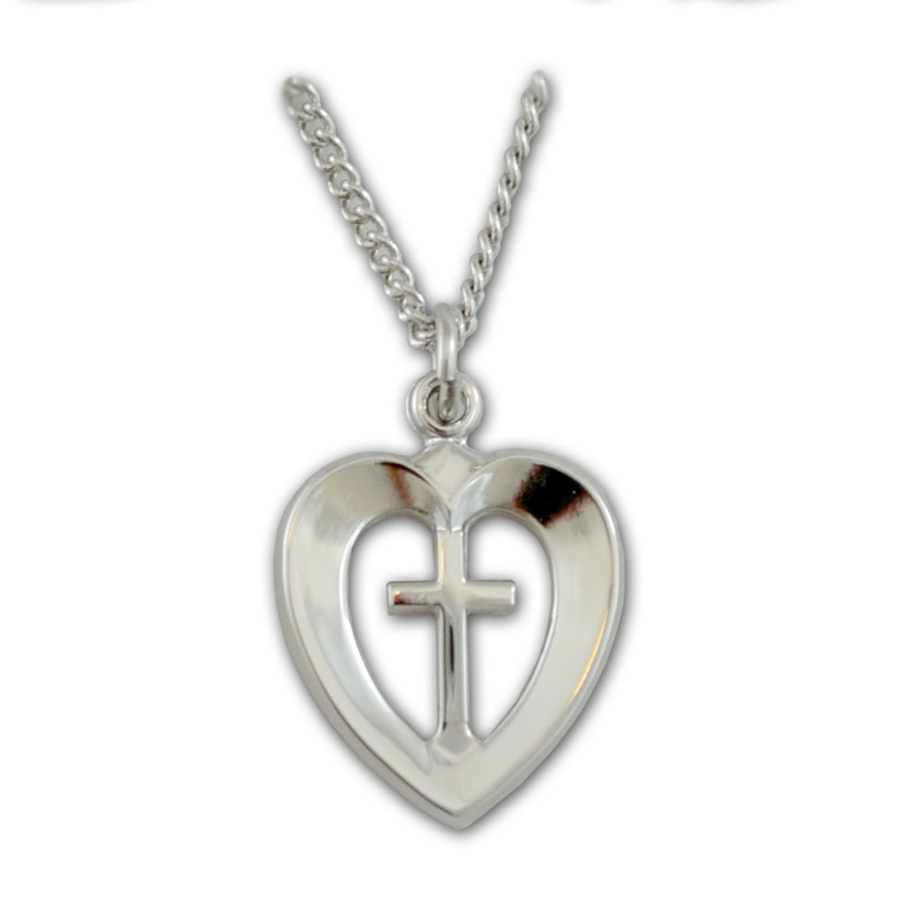 Silver Heart With Cross Pendant on 18 IN Chain