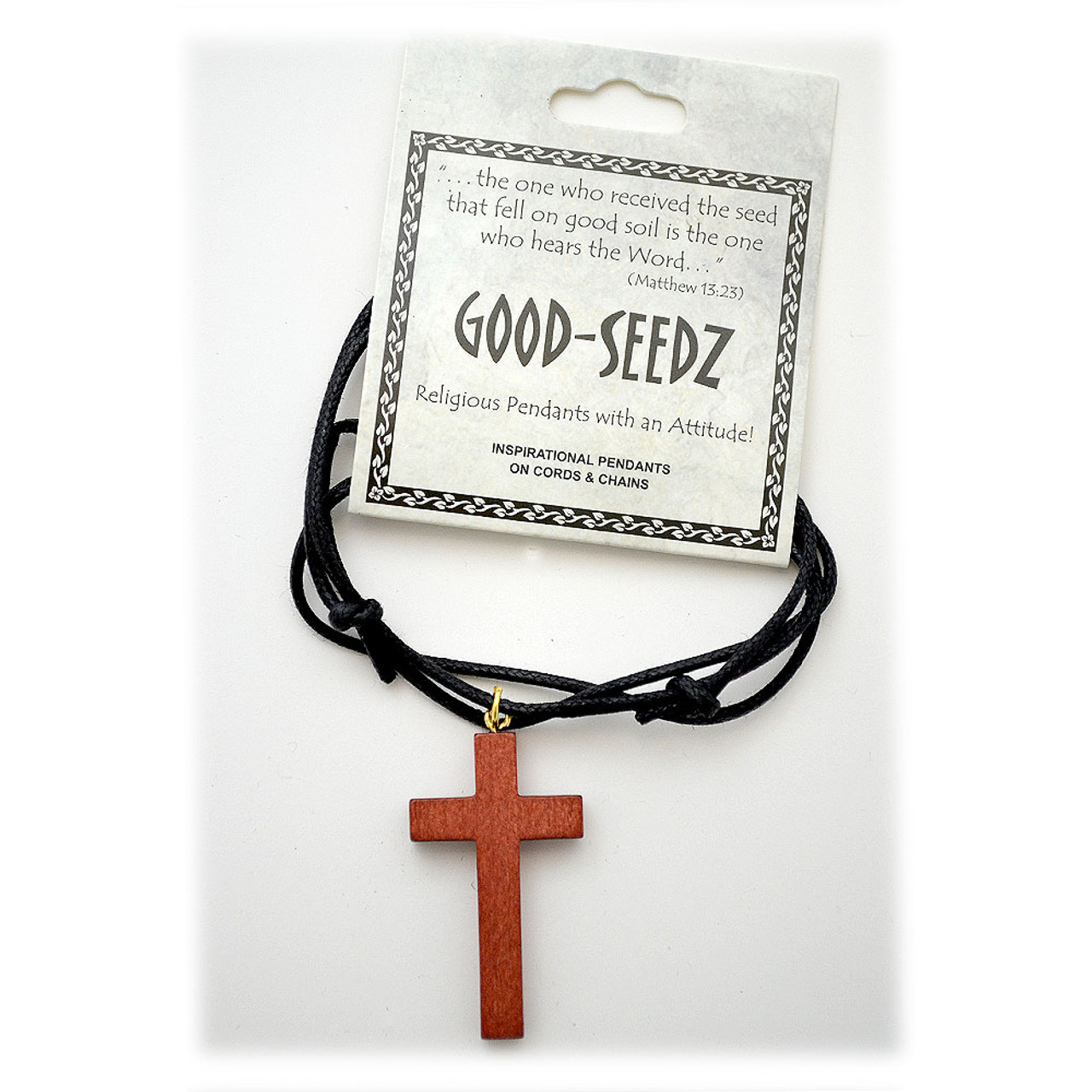 Good Seedz Brown Cross Wooden Pendant Adjustable