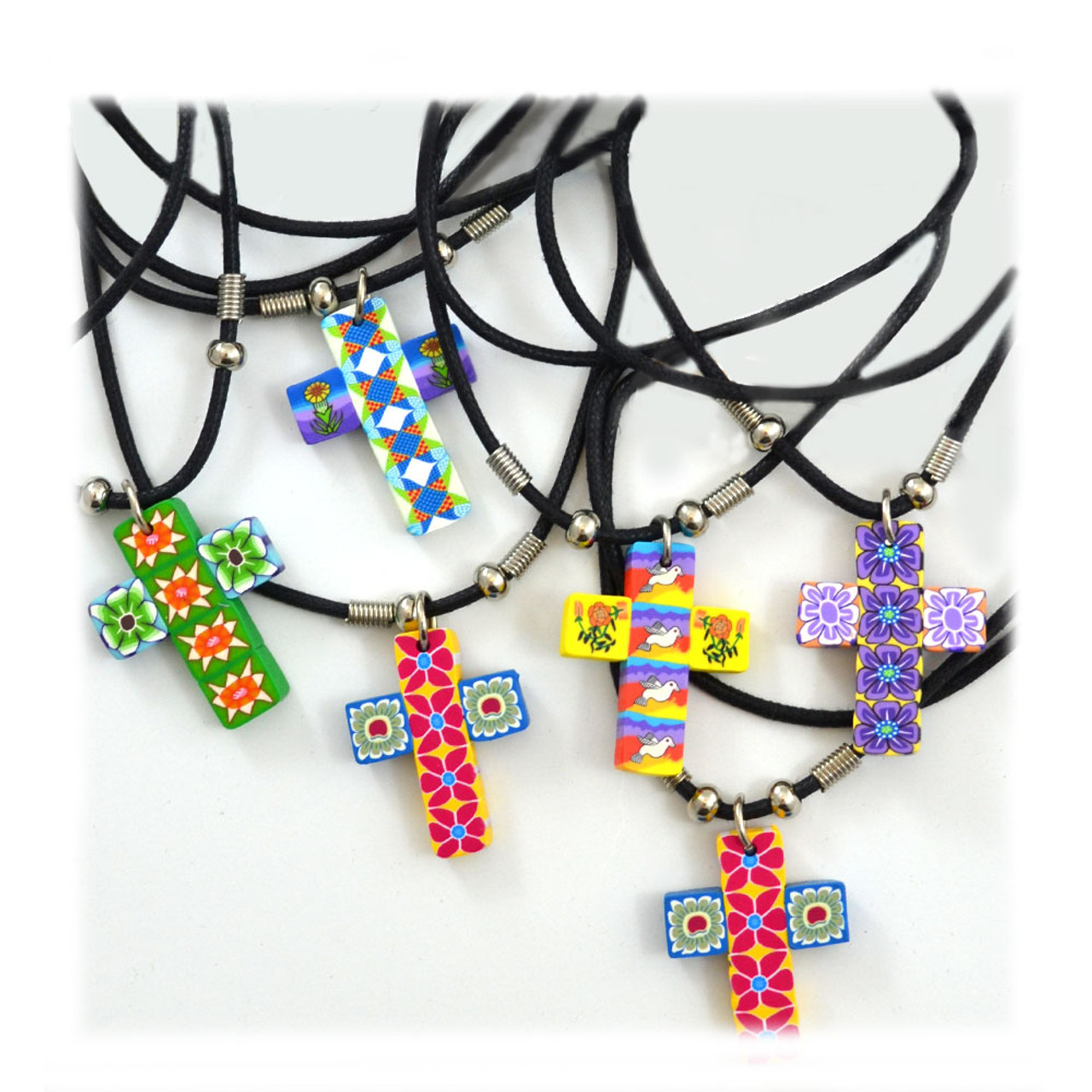Fimo Clay Bead Cross Necklace on Black Cord