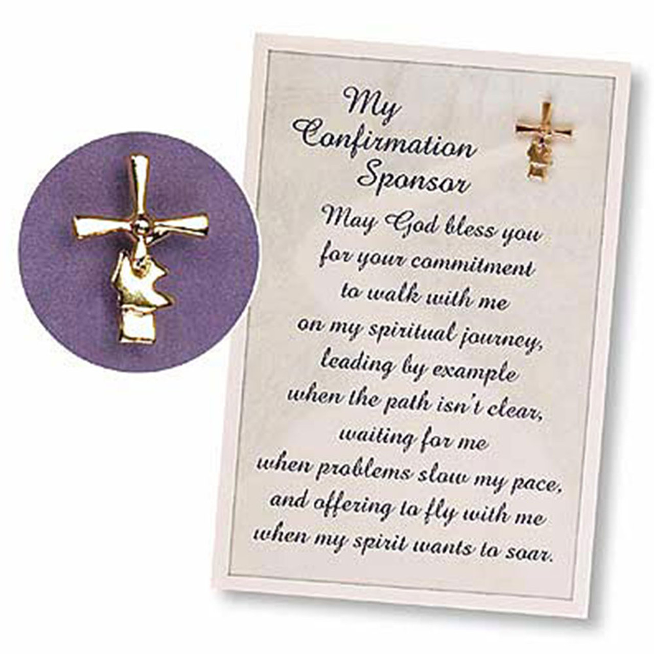 Lapel Pin and Prayer Card for Confirmation Sponsor