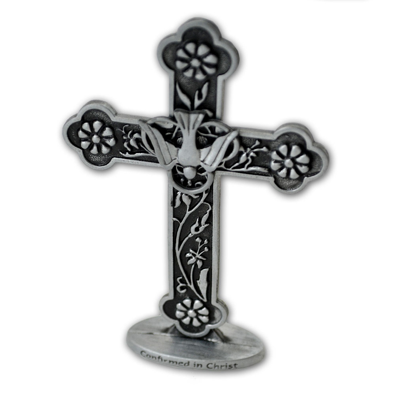 Standing Pewter Confirmation Cross with Dove