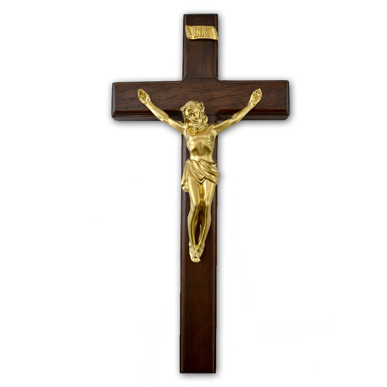 """Walnut Wall Crucifix- 12"""""""