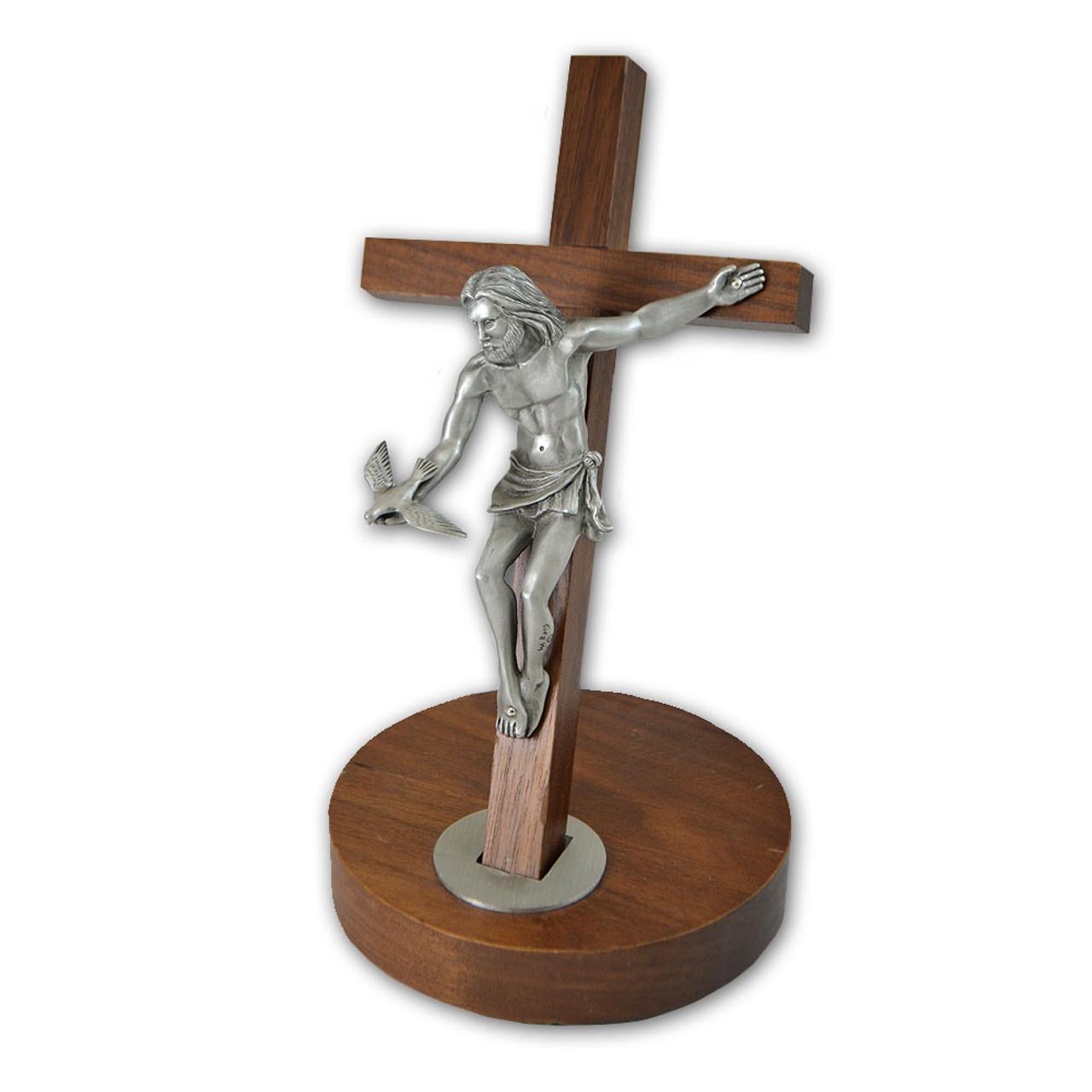 "Walnut Crucifix Jesus Christ With Holy Spirit 8"""