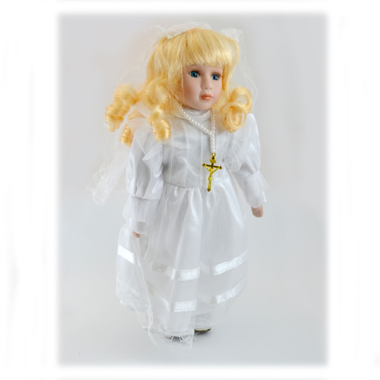 First Communion Blonde Doll, 12 Inch with Doll Stand