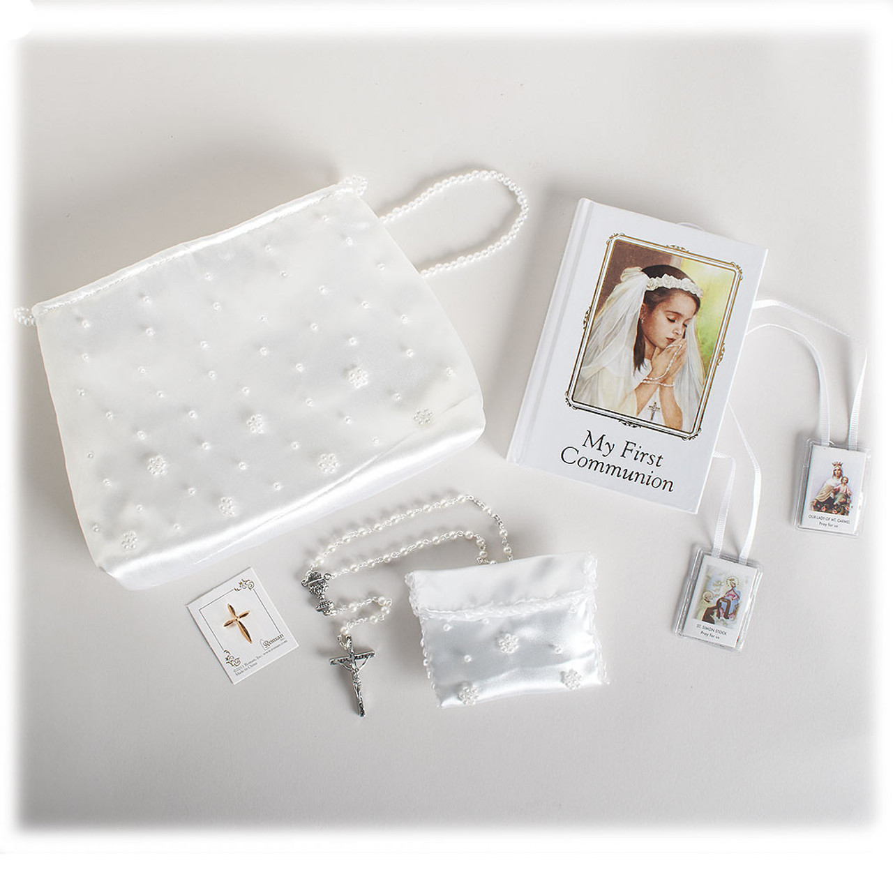 Girl's First Communion Purse and First Communion White Missal Set