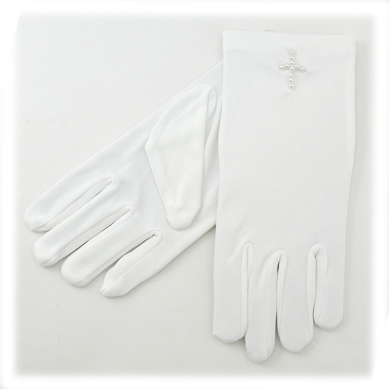 White Gloves With Pearl Cross